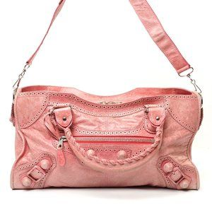 Auth Balenciaga Giant City Pink Leather #6702B12